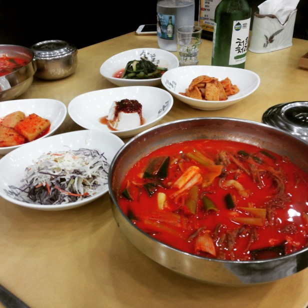 YukGaeJang Korean Spicy Beef Soup table incheon
