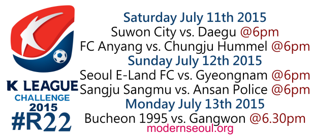 K League Challenge 2015 Round 22 July 11th 12th 13th