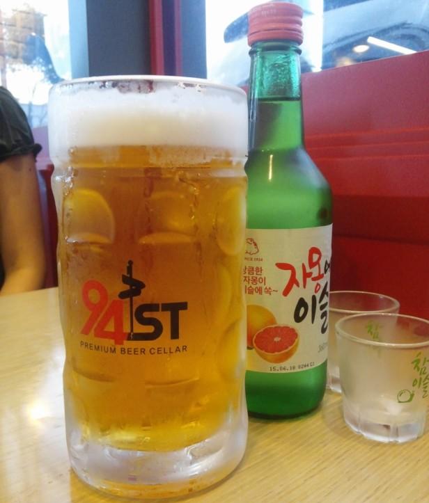 94Street Chicken Beer South Korea with grapefruit soju