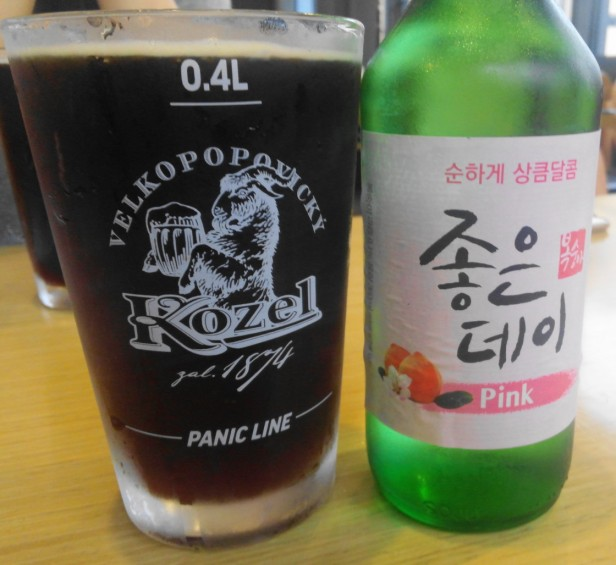 94Street Chicken South Korea peach soju dark beer