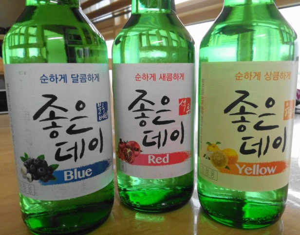 Blue Soju Red Soju Yellow Soju