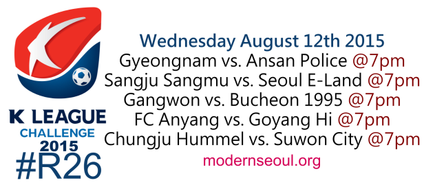 K League Challenge 2015 Round 26 August 12th