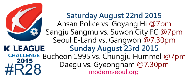 K League Challenge 2015 Round 27 August 22nd 23rd