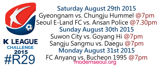 K League Challenge 2015 Round 28 August 29 30 31