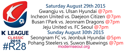 K League Classic 2015 Round 28 August 29th 30th