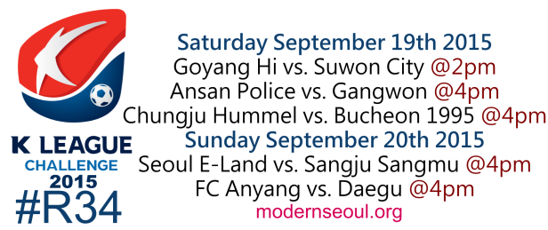 K League Challenge 2015 Round 34 September 19-20