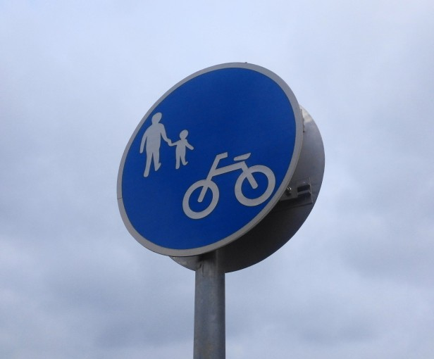 Korean Pedestrian and Cycle Path Sign