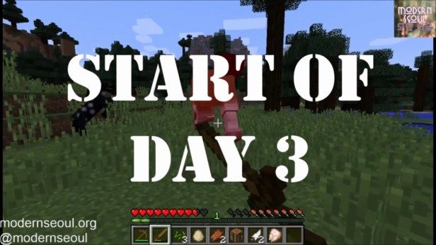 Start of Day Minecraft vs. The Wild Day 3