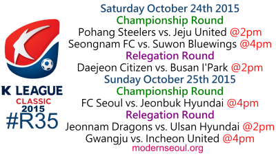 K League Classic 2015 Round 35 October 24th 25th