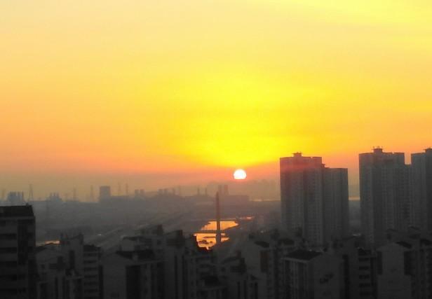 Sunset over the Yellow Sea Cheongna Incheon