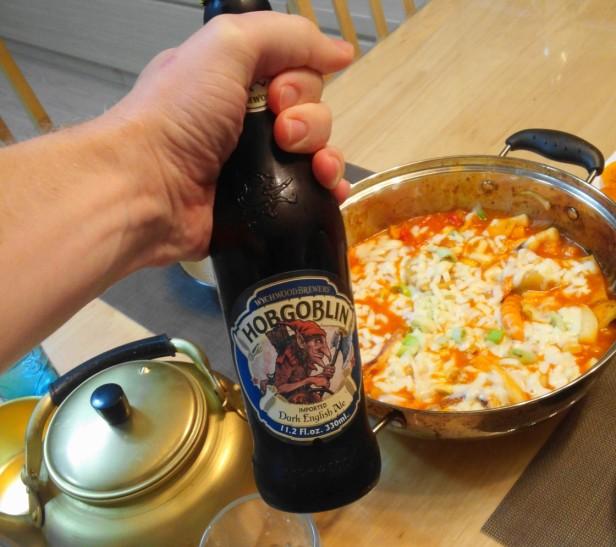 Wychwood Hob Goblin Beer Korea with Food