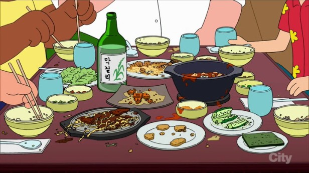 Family Guy Korean Episode Food, Soju