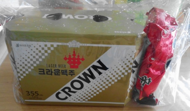 Korean Crown Beer 2016 6 pack with noodles
