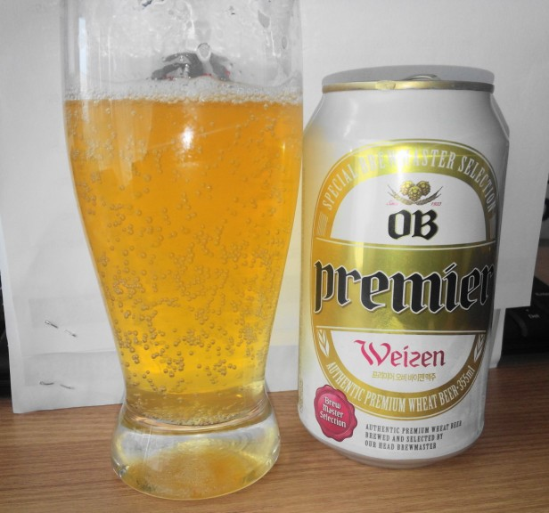 OB Premier Weizen can poured