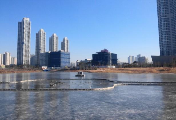 Cheongna Lake Frozen Over 2016