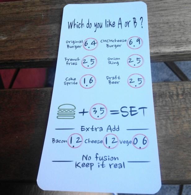 Hand in hand burgers Hongdae menu