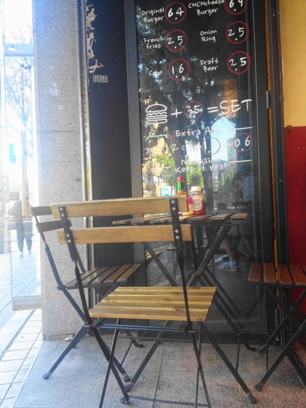Hand in hand burgers Hongdae outside seating