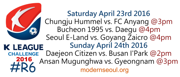 K League Challenge 2016 Round 6 April 23rd 24th