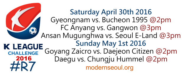 K League Challenge 2016 Round 7 April 30 May 1
