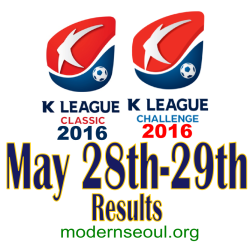 K League Classic 2016 Challenge Results banner may 28 29