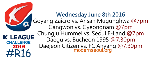 K League Challenge 2016 Round 16 June 8