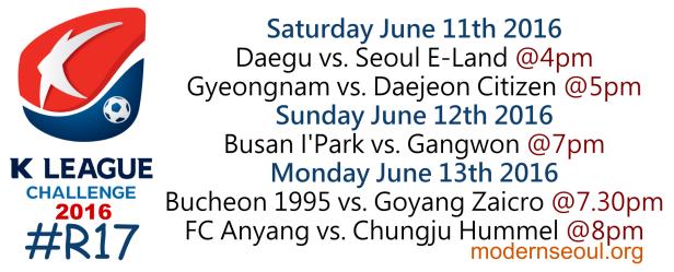 K League Challenge 2016 Round 17 June 11 12 13