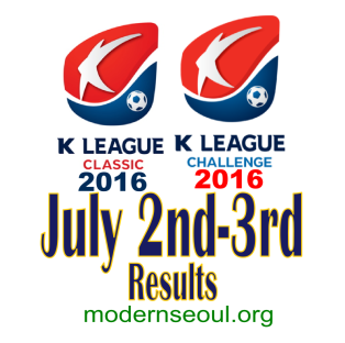 K League Classic 2016 Challenge Results banner july 2nd 3rd