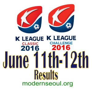 K League Classic 2016 Challenge Results banner june 11 12
