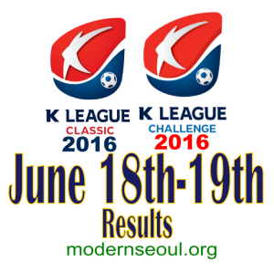 K League Classic 2016 Challenge Results banner june 18 19