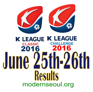 K League Classic 2016 Challenge Results banner june 25 26