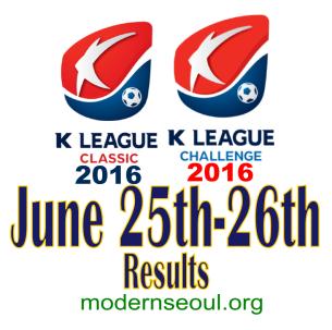 K League Classic 2016 Challenge Results banner june 25 26
