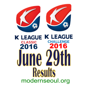 K League Classic 2016 Challenge Results banner june 29