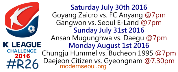 K League Challenge 2016 Round 26 July 30 31 Aug 1