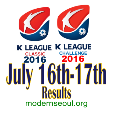 K League Classic 2016 Challenge Results banner july 16 17