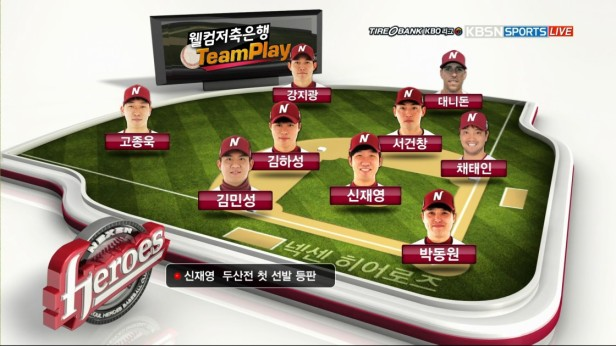 Nexen Heroes Lineup KBSN Sports TV 2016