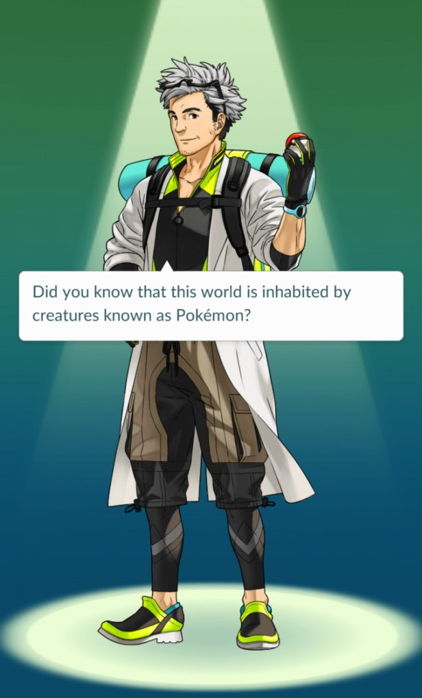 Pokemon Go Professor Screen