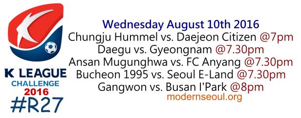 K League Challenge 2016 Round 27 August 10th