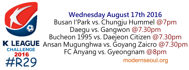 K League Challenge 2016 Round 29 August 17th