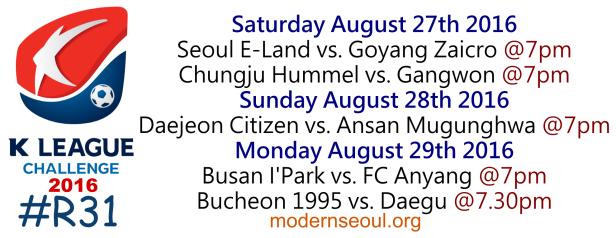 K League Challenge 2016 Round 31 August 27 28 29
