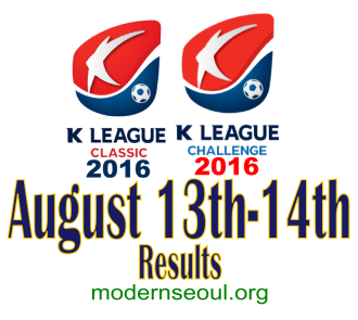 K League Classic 2016 Challenge Results banner august 13 14
