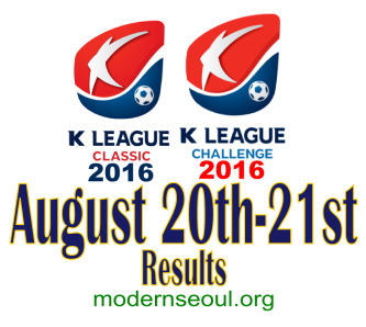 K League Classic 2016 Challenge Results banner august 20 21