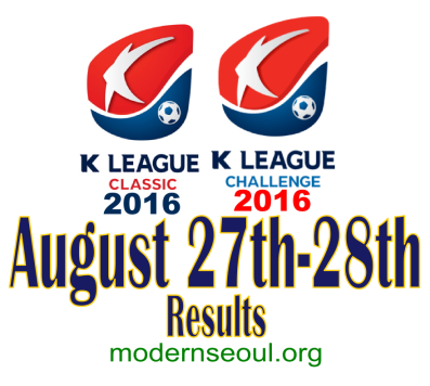 K League Classic 2016 Challenge Results banner august 27 28