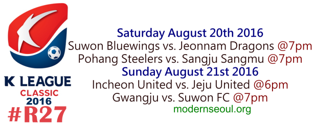K League Classic 2016 Round 27 August 20th-21st