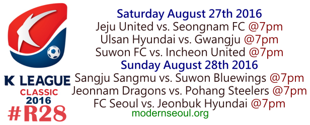K League Classic 2016 Round 28 August 27th 28th