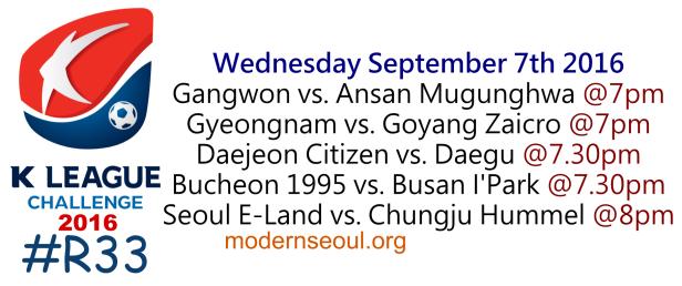 K League Challenge 2016 Round 33 September 7