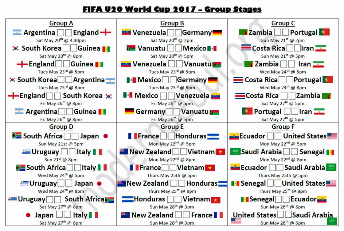 image about World Cup Groups Printable identified as FIFA U20 Environment Cup 2017 South Korea (Absolutely free Printable